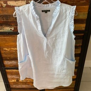 Baby blue linen tunic with front pockets